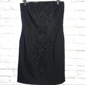 H&M Black Detail Front Strapless Dress